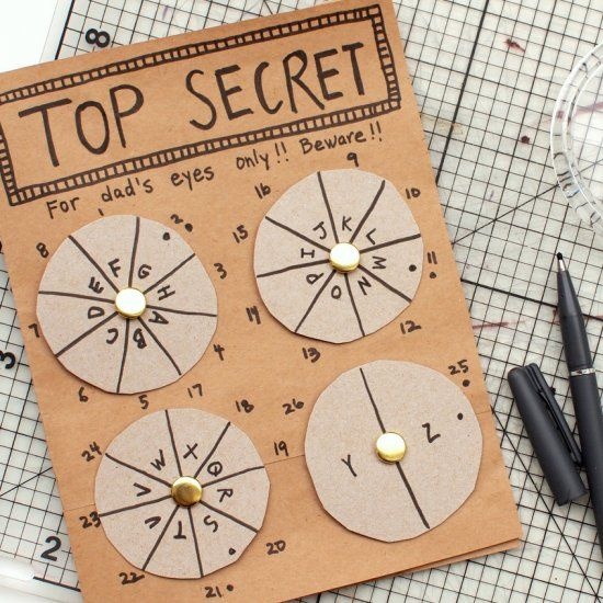 Mystery. Intrigue. Codes. Ciphers.  This DIY Father's Day Card has it all! Write a secret message for dad to decode on Father's Day!