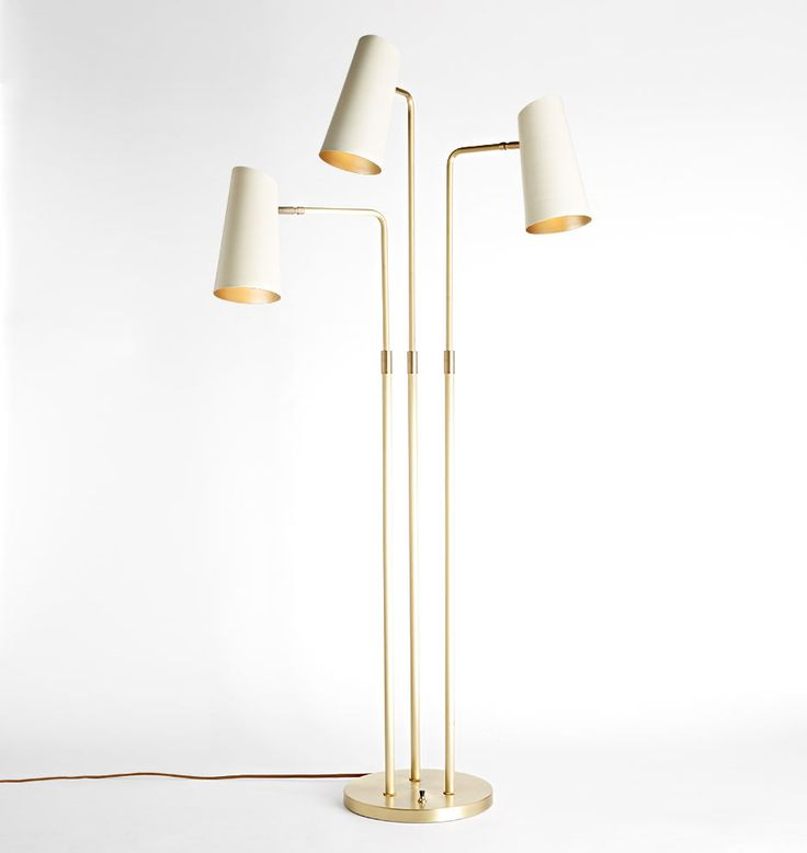 "Rejuvenation / Cypress 3-Arm Floor Lamp / Brushed Satin Brass with Satin White Shades / 12"" Base Diameter x 61"" H / $799"