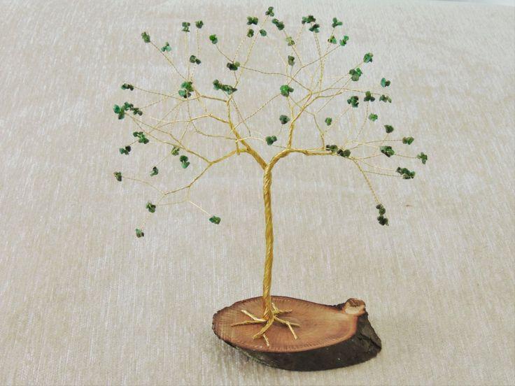 20th wedding anniversary gift, Emerald anniversary, Emerald wire tree sculpture…
