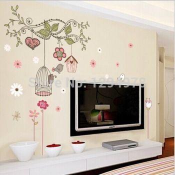 Alta calidad! entrega gratuita feliz voladera árbol de bricolaje extraíble pegatinas de pared Mural salón niños dormitorio decoración casa DLX509