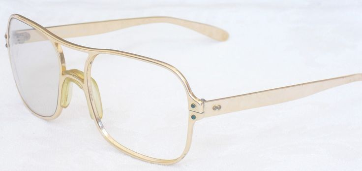 Vintage Renauld USA Eyewear, Oversized, Gold Tone, Aluminum Frames, Five Barrel Hinges, Spectacles, Metallic Art, 1970s Mod Glasses by AgsVintageCove on Etsy