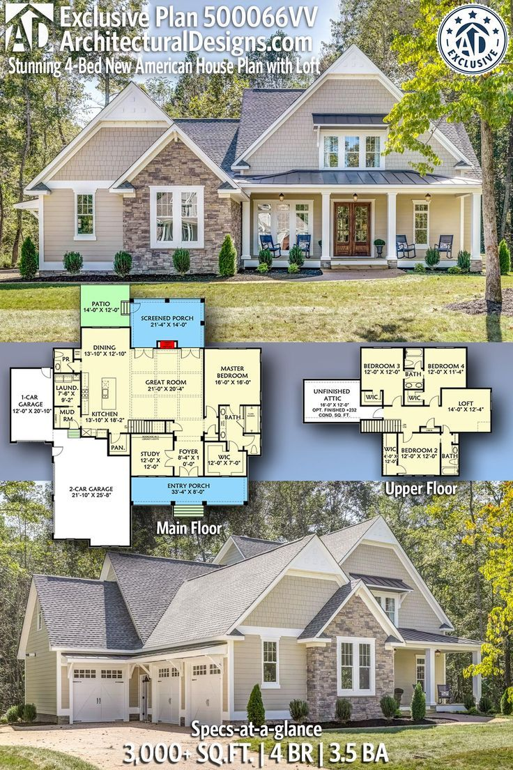 Plan 500066vv Stunning 4 Bed New American House Plan With Loft And Unfinished Attic Space Craftsman House Plans House Plan With Loft House Blueprints