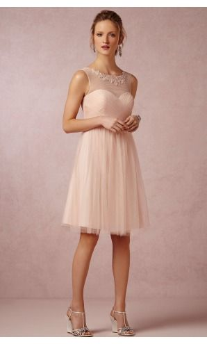 sku:0740679; Silhouette:A-line; Hemline:Knee-length; Fabric:Chiffon; Back Details:Zipper; Neckline:Jewel; Waist:Natural; Colour:Pearl Pink; Sleeve Length:Sleeveless;