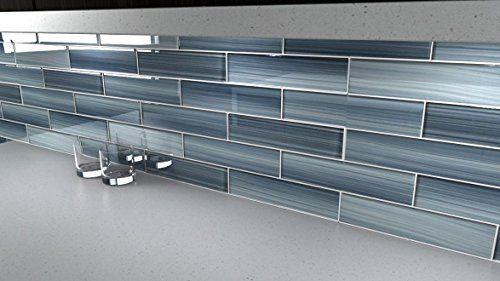 Deep Ocean Blue Gentle Grey Glass Tile Perfect For Kitchen Backsplash Or Bathroom Color Sample Grey Glass Tiles Kitchen Backsplash Blue Glass Tile