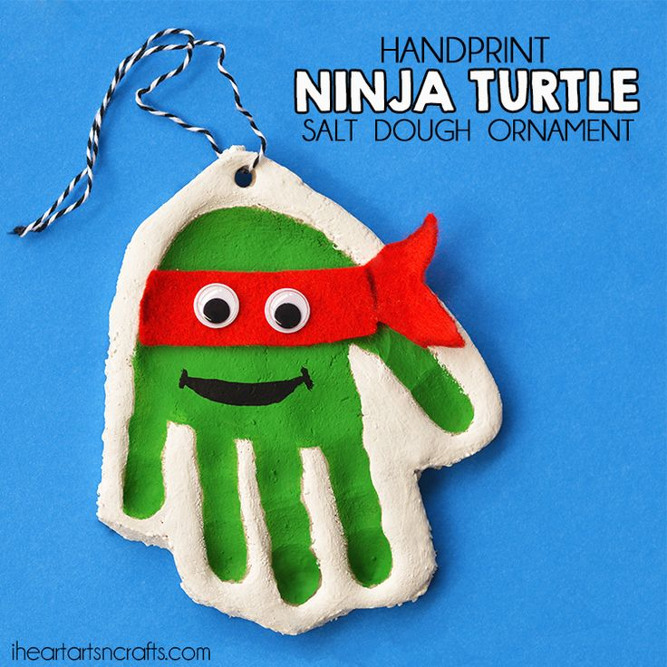 Handprint Ninja Turtle Salt Dough Ornament for Christmas!