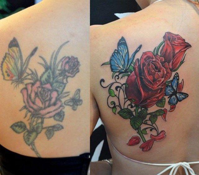 Cobriu uma tatuagem de rosas e borboletas com... Rosas e borboletas! | 12 pessoas que se arrependeram amargamente das tatuagens que fizeram