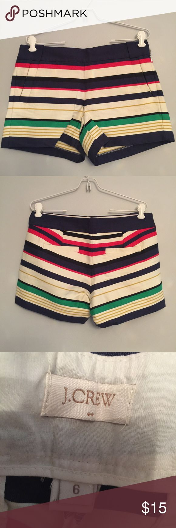 J. Crew striped shorts, size 6 Multi color Shorts in great condition! J. Crew Shorts