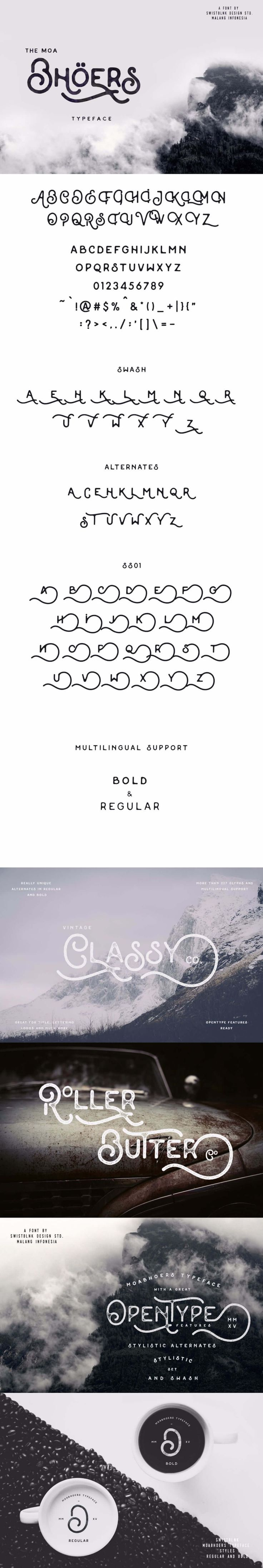 Moabhoers Typeface Moabhoers is a handmade modern vintage display typeface and combines the style of classic typography with the modern handlettering.