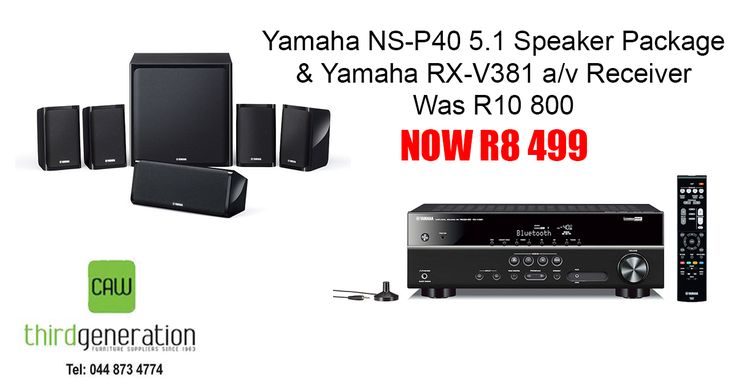 Save at #ThirdGenerationCAW. Get the #Yamaha NS-P40 5.1 Speaker Package now for only R8299.00 & Yamaha RX-V381 a/v Receiver, for only R8499. Price valid while stocks last. T's & C's apply,