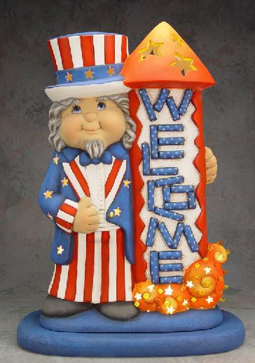 "Ceramic+Bisque+Ready+to+Paint+Uncle+Sam+Welcome+18""+tall+x+11""+wide+"