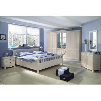 Set Dormitor Veneto complet alb, din lemn masiv. Setul este alcatuit din pat, dula, 2x noptiere si comoda
