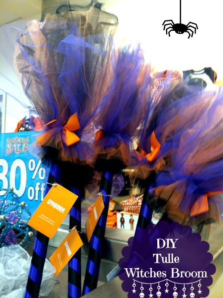 How to make a Witches Broom with tulle in step by step DIY instructions, perfect for kids witch costume Halloween, door hanger, or wall broom hanger, left over tulle crafts