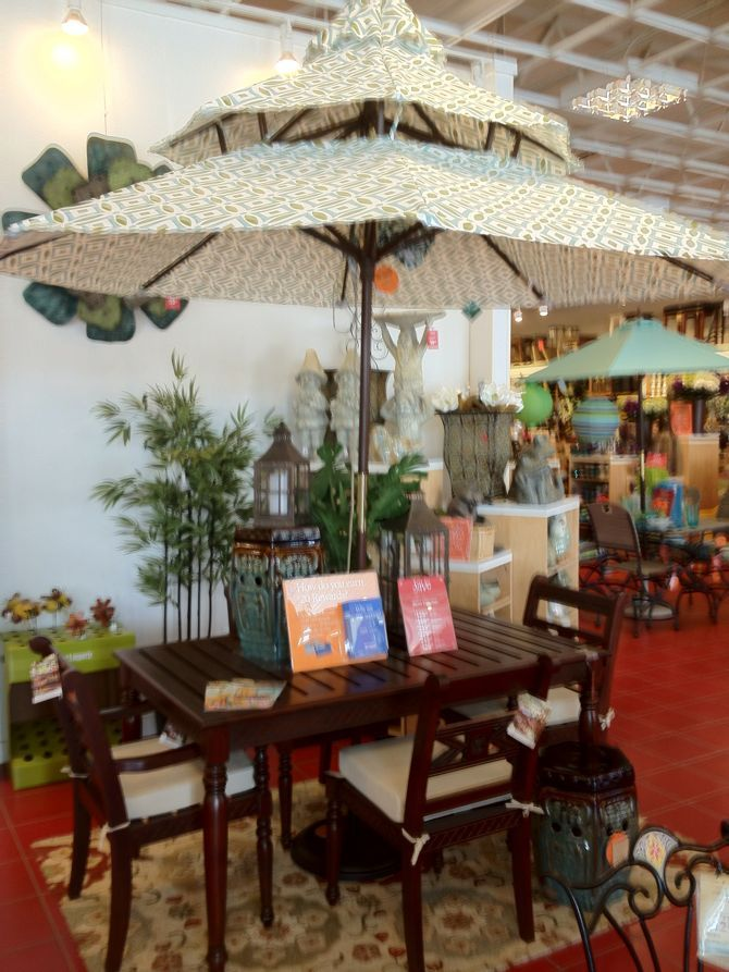 Pier 1 Outdoor Jepara Dining Set And Geometric Pagoda Umbrella