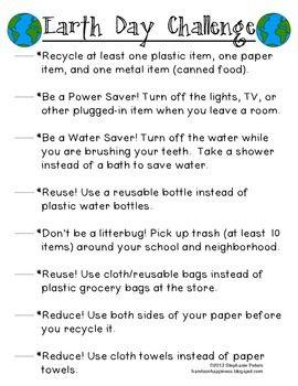 Earth Day Challenge List