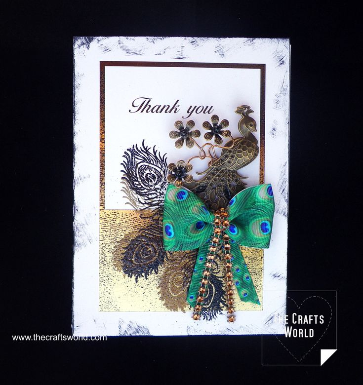 A thank you card widely covered with gold foil and decorated with embossing powders. The peacock charm is removable and can be worn as a necklace.   Find all materials in Buddly Crafts stores by clicking on the links below.   Materials used First Edition Transfer Foil 310mm x 2m – Gold FEFOL002 Buddly Crafts …