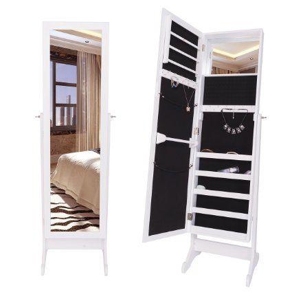 DXP Neigbarer Spiegelschrank Schmuckschrank Standspiegel Schmuckkasten Schrank Spiegel 145 cm Weiß JCYJ13