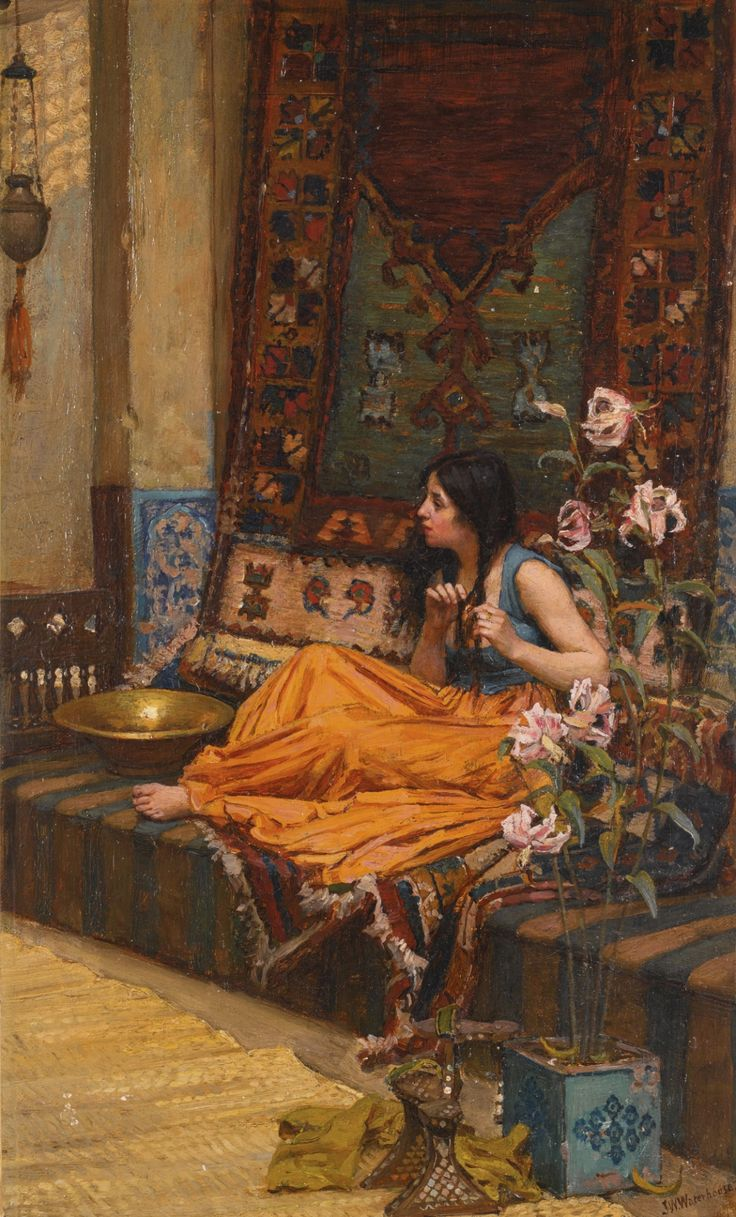 "pre-raphaelisme: "" In the Harem by John William Waterhouse, circa early 1880s """