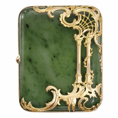 JP: A FABERGÉ NEPHRITE CIGARETTE CASE WITH JEWELLED TWO-COLOUR GOLD MOUNTS, WORKMASTER MICHAEL PERCHIN, ST PETERSBURG, CIRCA 1890