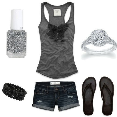 love it: Black Gray, Tank Tops, Cute Outfits, Beautiful Rings, Abercrombie Fitch, Cute Summer Outfits, Rings Lol, My Style, Summer Time