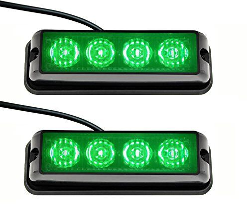 Strobelight Bar 4 LED with Super Bright Emergency Beacon Flash Caution Strobe Light Bar with 17 Different Flashing (2PCS) (Green). For product info go to:  https://www.caraccessoriesonlinemarket.com/strobelight-bar-4-led-with-super-bright-emergency-beacon-flash-caution-strobe-light-bar-with-17-different-flashing-2pcs-green/