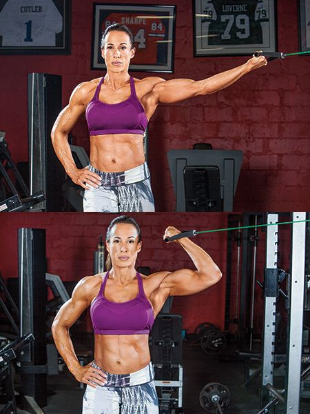 """IFBB physique competitor (and manager of Dwayne """"The Rock"""" Johnson) Dany Garcia is no stranger to tough workouts. Her seven-move upper-body routine strengthens and sculpts the biceps and triceps from multiple angles for attention-getting results."""