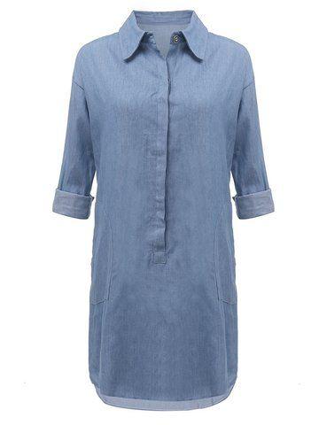 Casual Long Sleeve Sexy V-neck Jean Mini Shirt Dress