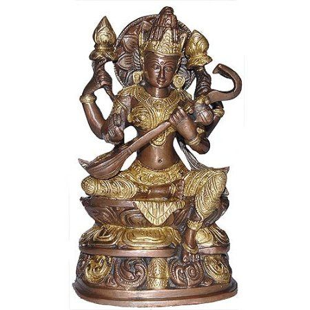 Amazon.com: BronzeSculpture Metal Sculpture of Hindu Goddess Saraswati in Brass: Home & Kitchen