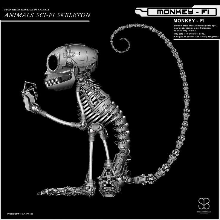 ANIMALS SCI -FI SKELETON , Stefano bertelli on ArtStation at https://www.artstation.com/artwork/E9E3e
