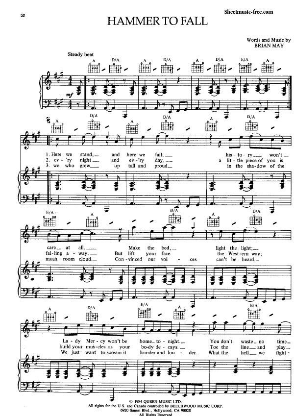 Hammer To Fall Sheet Music Queen With Images Sheet Music