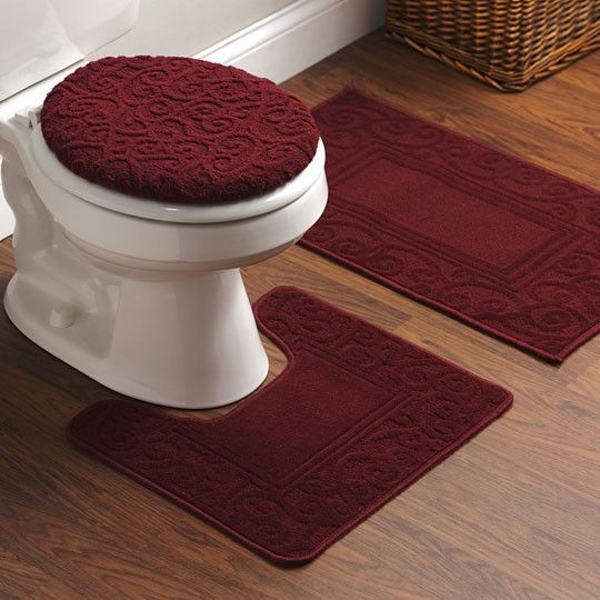 Burgundy bathroom rugs