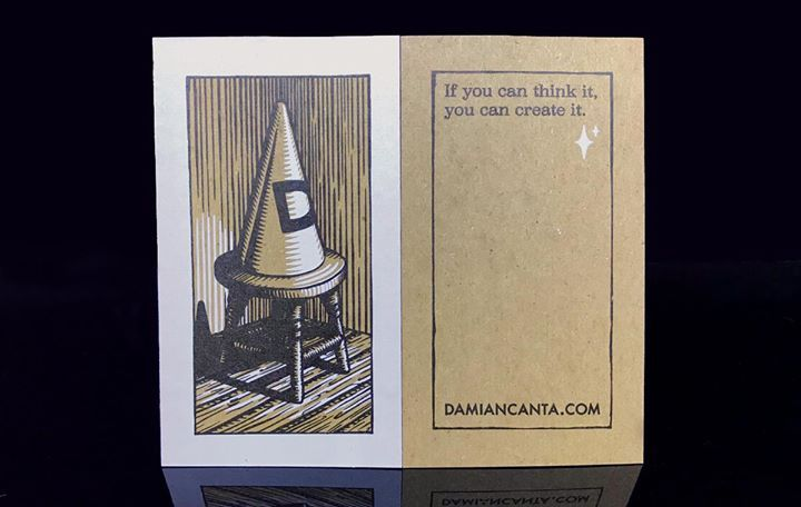 """Damian Canta approach to design is shared by all of us at Clubcard. """"If you can think it, you can create it"""". His brilliant illustrative work is complimented by this 24pt chipboard stock with white ink, provides an organic yet sophisticated canvas for his artwork. Bravo!"""
