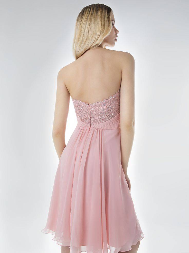 Short evening strapless dress with beaded bust