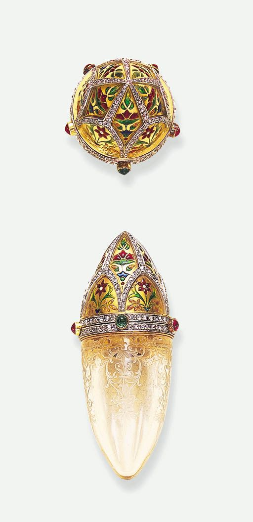ROCK CRYSTAL, DIAMOND, EMERALD AND RUBY SCENT BOTTLE, BY BOUCHERON - circa 1900. #antique #vintage #perfume