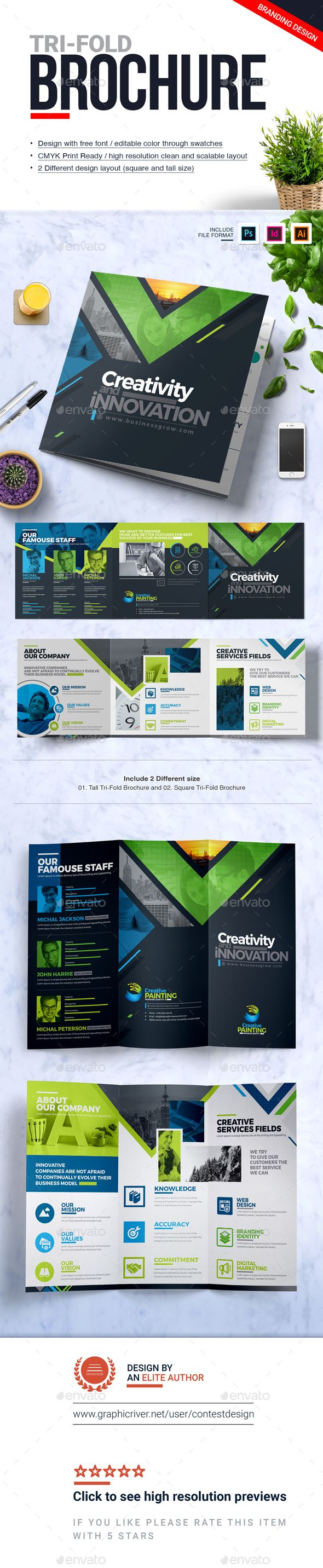 Tri-Fold Brochure | Square and Tall Brochure Design Template
