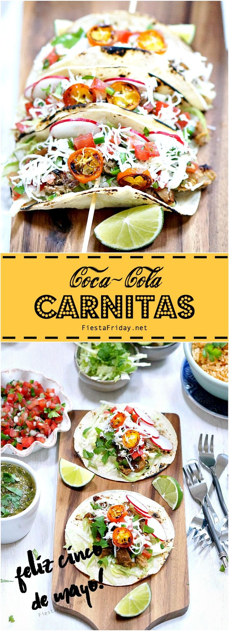 "Carnitas (""little meats""), pork braised in Coca-Cola and orange juice until tender, then shredded and fried in its own fat, are perfectly brown, crisp, and flavorful little morsels of meat. Excellent for filling your tortillas. For Cinco de Mayo or any day!"