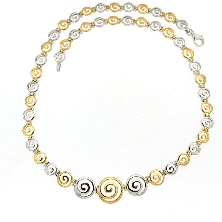 Greek spiral silver golden necklace greek by ThetisTreasures