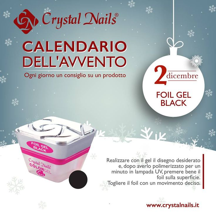 Calendario dell'avvento Crystal Nails - 2 dicembre - #crystalnails #foil #gel #black #christmas