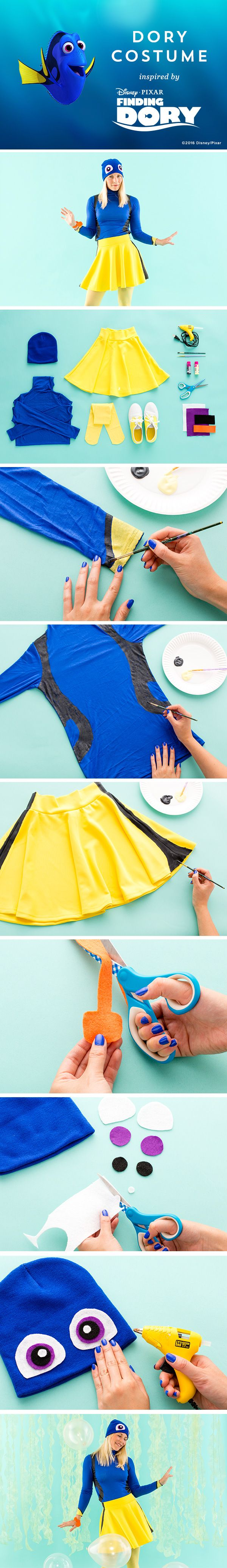 This DIY Dory costume will have you swimming through a sea of candy on Halloween. Plus, your family can join in on the fun with Nemo and Hank DIY costumes.