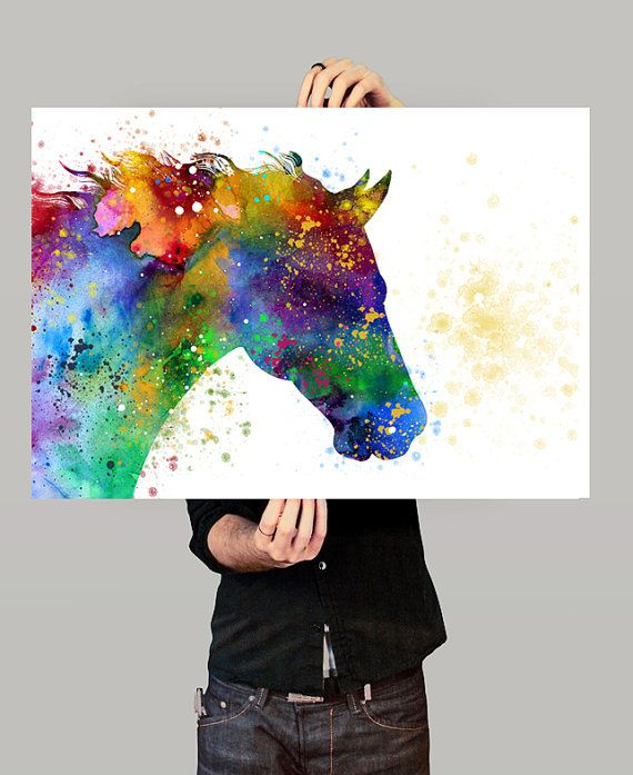 Horse Watercolor Painting Print Animal Portrait by FineArtCenter