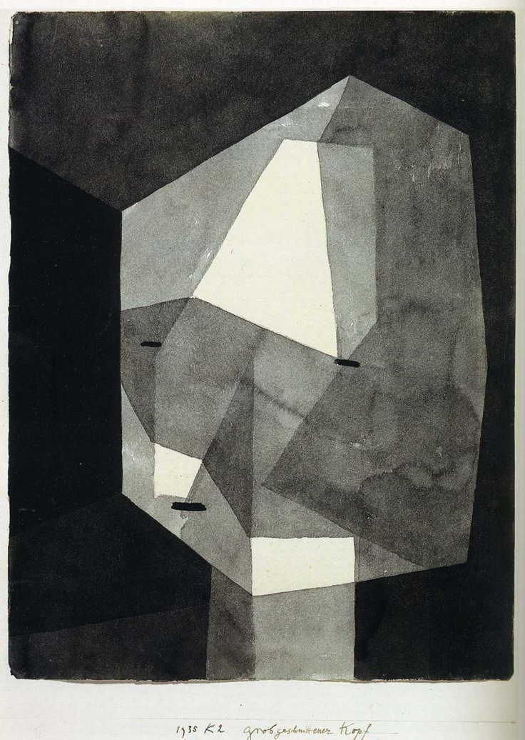 Paul Klee, Rough Cut Head, 1935. In this pin Paul Klee used a lot of straight, diagonal, dark and light lines. Cian Atkinson Art 6/03