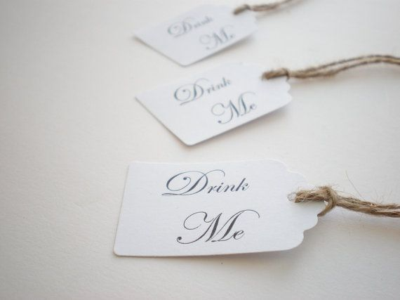 Drink Me Tags, Alice In Wonderland, Script Font, Choice Of Ribbon Colors Set Of 10 #EasyPin