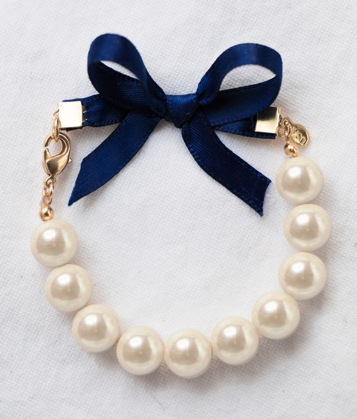 Classy Girls Wear Pearls Bracelet with Navy Ribbon Bow by Kiel James Patrick