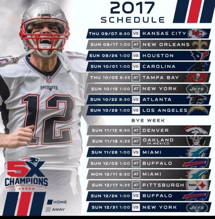 "2017-18 NEW ENGLAND PATRIOTS NFL FOOTBALL SCHEDULE FRIDGE MAGNET (LARGE 4""X5"")"