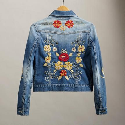 denim jacket jaqueta jeans bordado