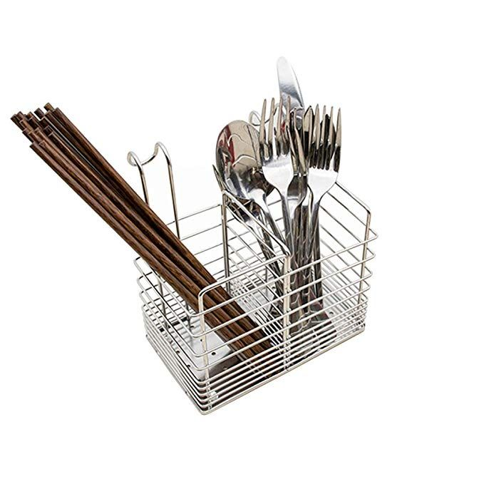 Kitchen Utensil Metal Chopstick Spoon Cultery Drying Holder Rack with Handle