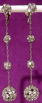 Art Deco Rhinestone Dangly Ball Earrings 1920s