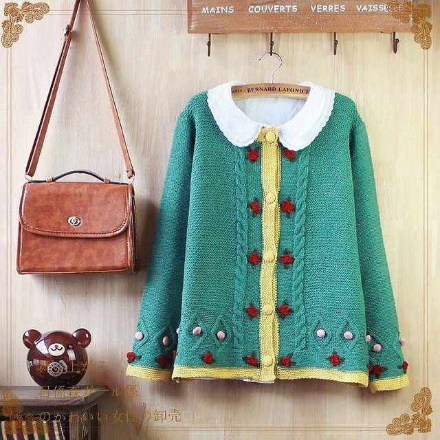 Japanese Sweater Coat Vintage Kawaii Lolita women's  Cardigan Cute Knit 3 colors #Unbranded #Cardigan