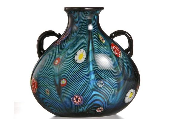 Vaso in vetro originale di Murano con murrine anni 70.