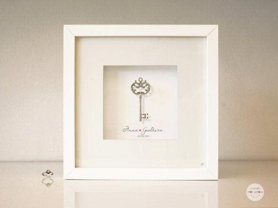Quadro personalizzato Matrimonio, regalo Anniversario, regalo Nozze argento - 25 anniversario - chiave argento anticato - incorniciato