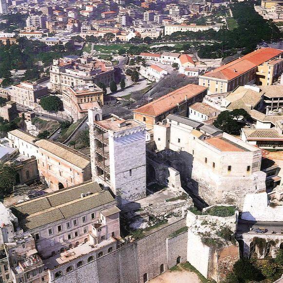 Aerial view of San Pancrazio's Tower (Foto aerea della Torre di San Pancrazio).Cagliari.
